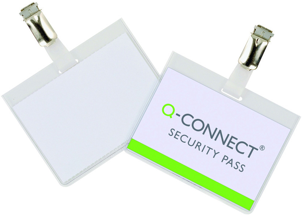 Kongresmærke Q-Connect 60x90  security badge med clips Æsk/25